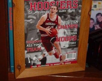 Indiana University custom framed solid cedar original Lindy Sports magazine Big Ten Champs oak finish display