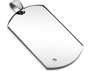 Personalized Stainless Steel Single Corner Round Gem Dog tag - Free Engraving