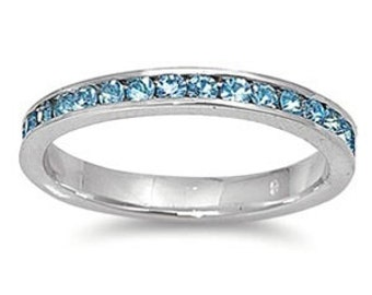 Personalized Sterling Silver eternity Ring with Aquamarine CZ - Free Engraving