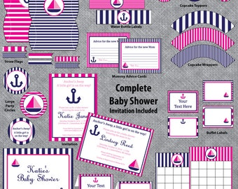 Nautical Baby Shower   Pink And Navy   Complete Set   INVITATION INCLUDED    12 Printable
