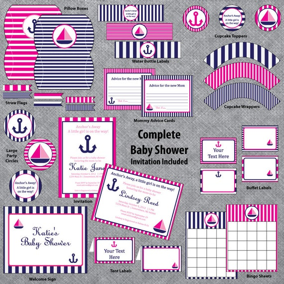 Fabulous Nautical Baby Shower - Pink and Navy - Complete Set - INVITATION  LT27