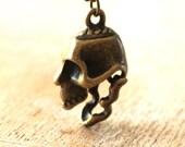 10% SALE Necklace Miniature Steampunk Skull Pendant  Skull Necklace Charm Halloween Gift