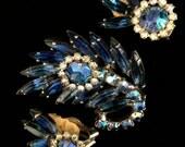 Beautiful Blue Juliana Brooch and Earring Set
