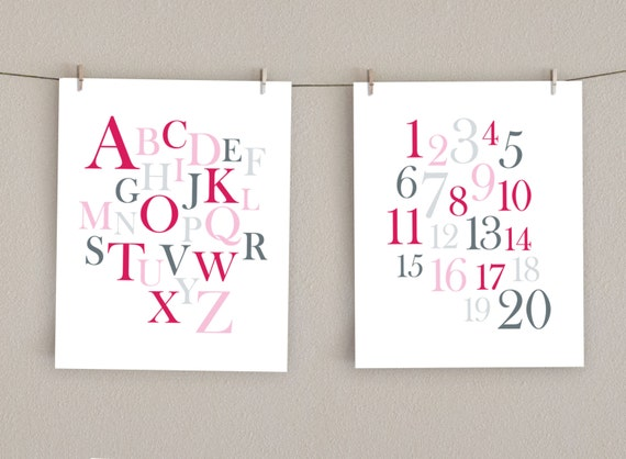 Alphabet Wall Art and Numbers Print Set - Baby Girl Decor - Pink and Gray Nursery