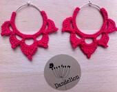 RESERVED - Crochet lotus earrings (fuchsia)
