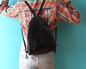 SALE Unworn cond.: Fantastic vintage (90s) very glossy black leather backpack