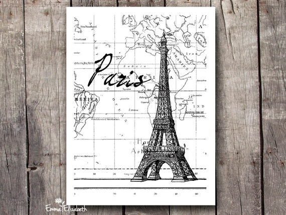 Eiffel Tower Black And White Poster Eiffel Tower Art Black And