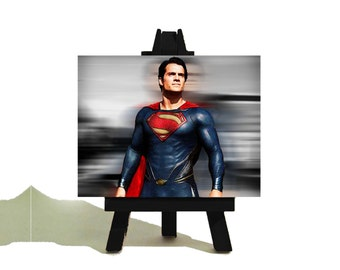 SUPERMAN Man of Steel - Henry Cavill - Awesome Miniature Canvas and Easel Set - SALE - Limited Time Only