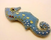 Blue and Gold Horsefish Brooch, Felt Pin - Ipekce