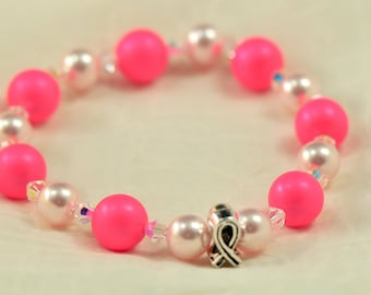 Breast cancer awareness bracelet - Hot Pink and Rose Pink Swarovski pearls - Donation to Susan G. Komen for the Cure