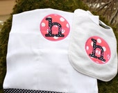 Personalized bib and burp cloth, Monogrammed set, Baby shower gift, Navy and Pink Nautical