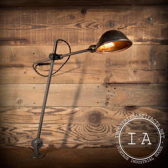 Vintage Industrial Oc White Articulating Desk Wall Lamp