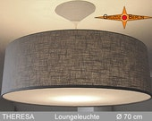 Large pendant lamp greyTHERESA Ø70 cm linen lamp with diffuser