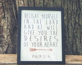 """Psalm 37:4 8"""" x 10"""" Poster"""