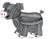 Black and White Zentangle Pig drawing Print