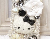 Free  shipping Bling Bow Cute black and white pearl Hello kitty drill mobile phone shell iphone 4 Case iPhone 4s Case  iphone5 cover MX