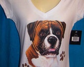"""Boxer Dog, wear him on your shirt  """"I love my  BOXER  """"  show off your Dog proudly."""