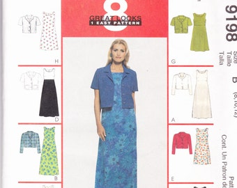 McCalls 9198 Vintage Pattern Womens Tank Dress and Unlined Jacket in 8 Styles Size 8-10