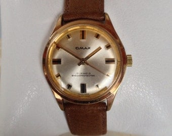 Vintage Omax Watch,  Manual Wind Watch,1960s - Gold Plated, Shock Protected, Vintage Swiss Watch, Men's Watches
