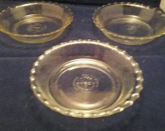 3 Mint Vintage Pyrex Clear Glass Tart Pans