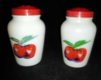 Vintage Fire King Apples & Cherries Shakers with Red Lids - Mint