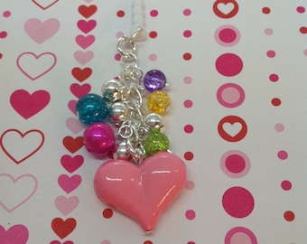 Pink Heart cell phone charm, cell phone dust plug, iphone charm, headphone jack charm, dust plug charm, dust plug, phone charm, ipad