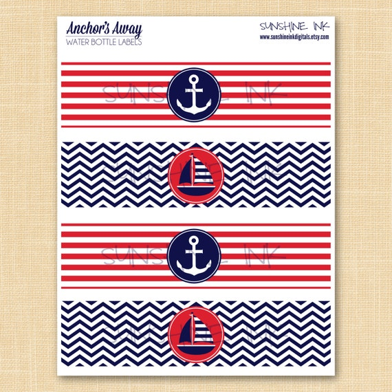 Printable Nautical Water Bottle/Drink Labels - INSTANT DOWNLOAD