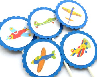 12 Airplane Cupcake Toppers, Airplane Theme, Aviator Party, First Birthday, Plane Birthday, Airplane Party, Baby Shower, Plane Shower, Plane