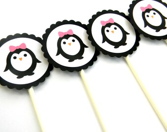 12 Penguin Cupcake Toppers, Girl Penguin, Pink Bow, Birthday Toppers, First Birthday, Penguin Theme, Wildlife Party, Penguin Theme, Party