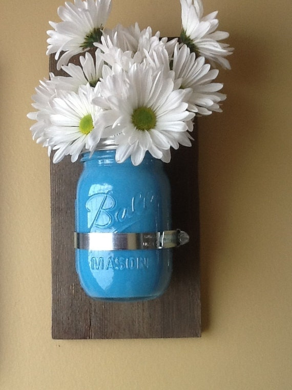 Mason Jar Wall Sconce Etsy : Mason Jar Sconce Wall vase by HendryxHouseDesigns on Etsy