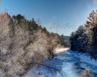 Winter, Sunrise Photo, 8x10 or 12x18, nature photo, river photo, photography, snow, trees, water, photo mat, wall art, art, Winter Scene