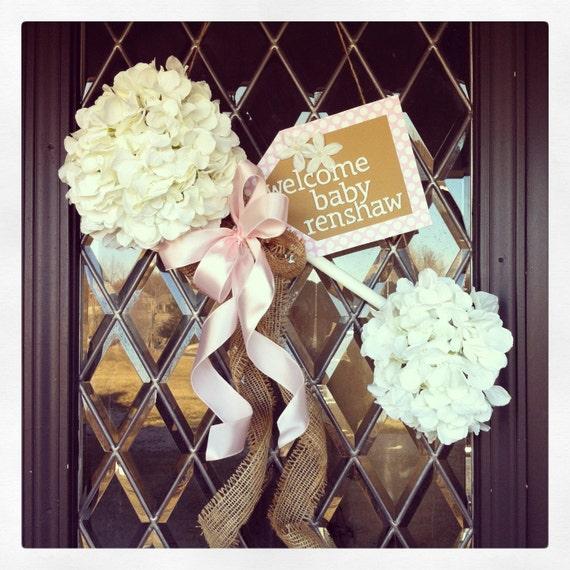 Items similar to baby rattle door hanger on etsy for Baby boy hospital door decoration