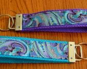 Purple & Turquoise Key Fob, Key Chain, Wristlet