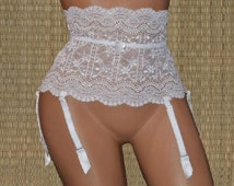 Elastic Suspender original Dresden top, 21cm wide, white, 6 suspenders