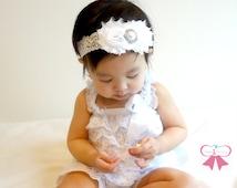2pcs baby Romper,Lovely White Lace Petti Romper set, flower girl, flower girl,baptism outfit,baby Girl Christening,dedication outfit