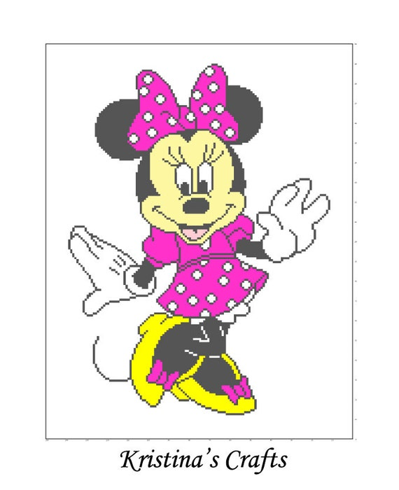 Crochet Pattern For Minnie Mouse Blanket : PATTTERN-Minnie Mouse Blanket Crochet Graph