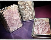 Set of Three (3) Handmade Altoid-like Infrared Floral Storage Tins / Trinket Boxes