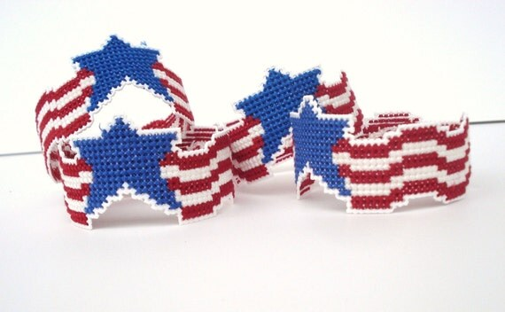 Patriotic Napkin Rings, Set of 4, Counted Cross Stitch Napkin Rings, Flag Napkin Rings, Red, White and Blue