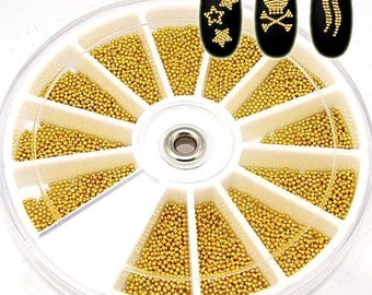 1 wheel 3D golden Color metal Caviar Manicure Pedicure Micro Tiny Nail Art Sticker Beads