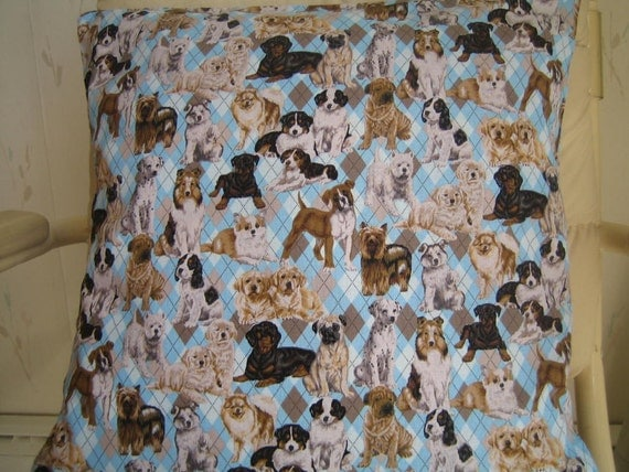 """2 Pillow Covers with Dogs 16"""" x 16"""" in 100% Cotton- Handmade New."""