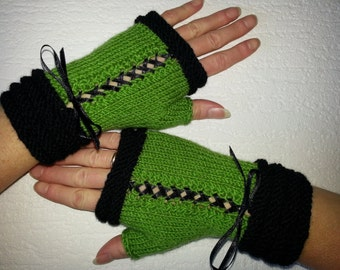 Handknitted green color  with black accent color women fingerless gloves / wrist warmers Victorian style