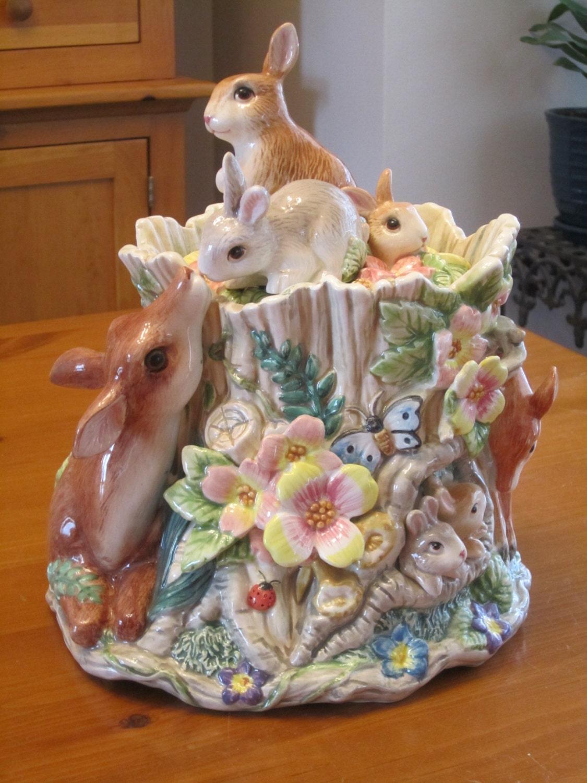 Fitz Amp Floyd Cookie Jar Woodland Deer Rabbits