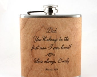 Father of the Bride gift - Personalized wood  flask.  wedding ideas