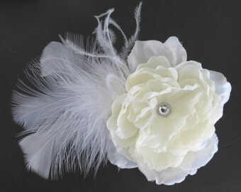 CLEARANCE Ivory Bridal Flower Hair Clip- Wedding Accessory - Crystals-Feathers-Bridal Fascinator