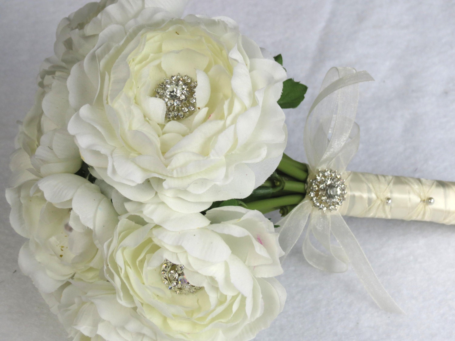 Bridal Bouquet Made Of Jewels : Jewelry ivory bouquet bridal crystals silk