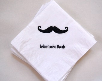 Mustache Bash Beverage Napkins / Set of 50 / Perfect for Birthday Parties or Baby Showers