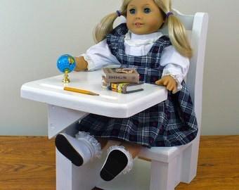 """American Girl Doll Furniture / School Desk / 18"""" Doll Furniture / School Desk (White)"""