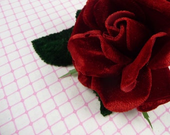 Velvet Rose in Rich Red Millinery Flower for Corsages, Hats, Brooch 3FN0067R