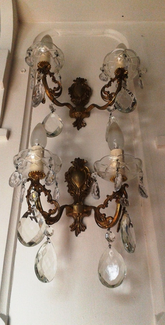 French Chandelier Wall Lights Crystal Lamps Sconces Antique