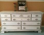 Vintage 7 drawer dresser in Snowfall White